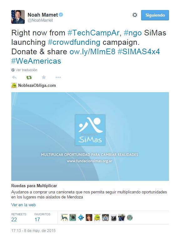 Tuit de Noah Mammet, embajador de USA en Argentina
